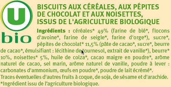 Biscuits petit déjeuner pépites chocolat et noisettes - Ingrediënten - fr