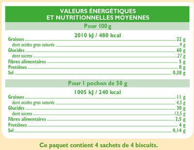 Biscuits petit déjeuner pépites chocolat et noisettes - Voedingswaarden - fr