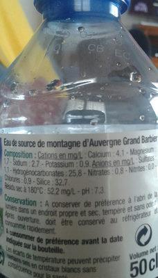 Eau de source de Montagne d'Auvergne - Ingrediënten