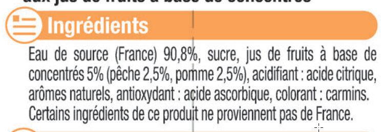 Boisson à base d'eau de source arômatisée au jus de pêche - Ingrédients - fr