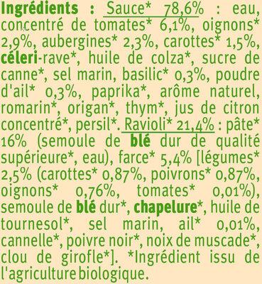 Ravioli aux légumes Bio - Ingrediënten