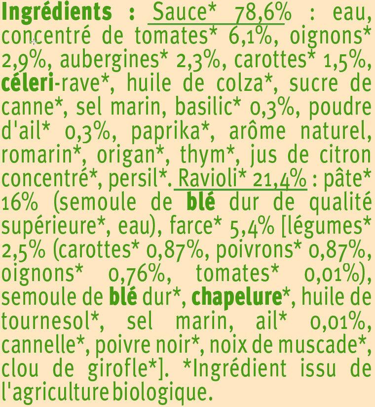 Ravioli aux légumes Bio - Ingredients