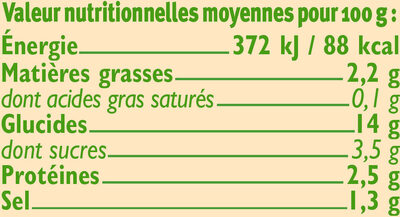 Ravioli aux légumes Bio - Nutrition facts