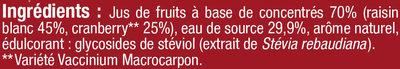 Boisson cranberry regular sans sucres ajoutés - Ingrédients