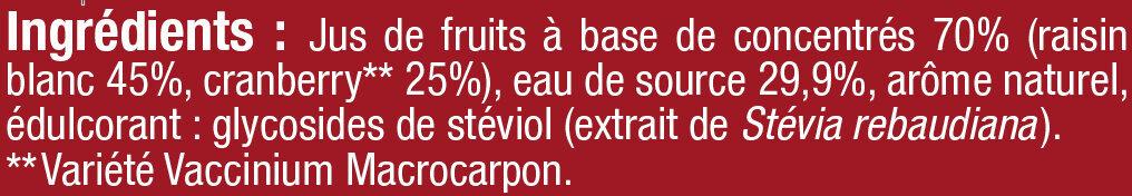 Boisson cranberry regular sans sucres ajoutés - Ingrediënten