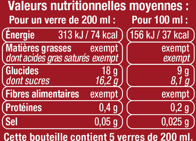 Boisson cranberry regular sans sucres ajoutés - Informations nutritionnelles