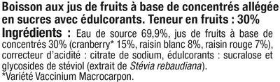 Boisson cranberry light - Ingredients