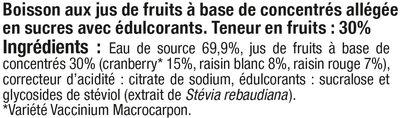Boisson cranberry light - Ingrediënten