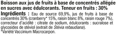 Boisson cranberry light - Ingrédients - fr