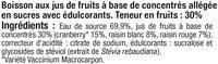 Boisson cranberry light - Ingredients - fr