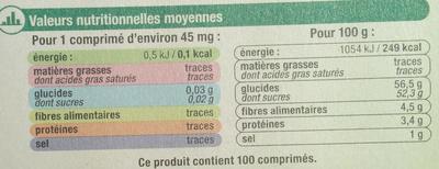 Edulcorant à base de stevia - Informations nutritionnelles - fr