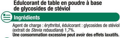Extrait de stévia - Ingredients