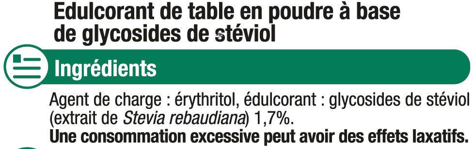 Extrait de stévia - Ingrédients - fr
