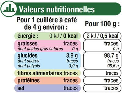 Extrait de stévia en poudre cristallisée - Informations nutritionnelles - fr