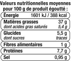 Foie de morue fumé au feu de bois - Informations nutritionnelles - fr