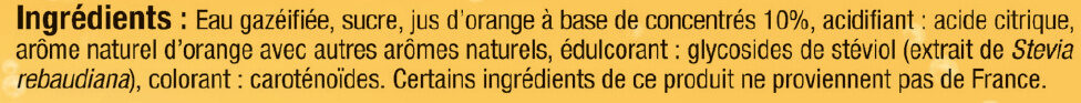 Soda saveur orange - Ingredients - fr