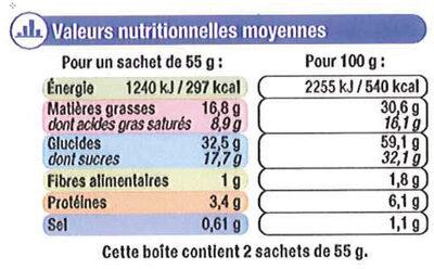 Palmier nappé au chocolat au lait - Voedingswaarden - fr