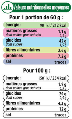 Couscous Grains Fins - Informations nutritionnelles - fr