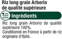 Riz long arborio - Ingredients