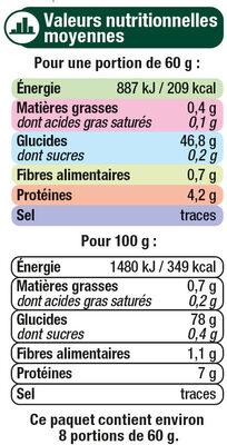 Riz long arborio - Nutrition facts