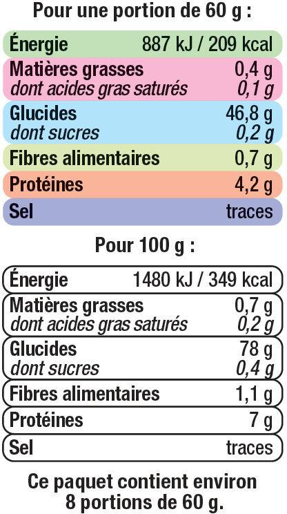 Riz long arborio - Informations nutritionnelles - fr