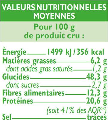 Mélange de céréales et légumes secs - Voedingswaarden - fr