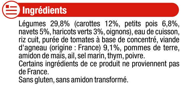 Assiette navarin d'agneau aux petits légumes - Ingredients - fr