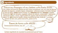 TARTIFLETTE - Inhaltsstoffe - fr