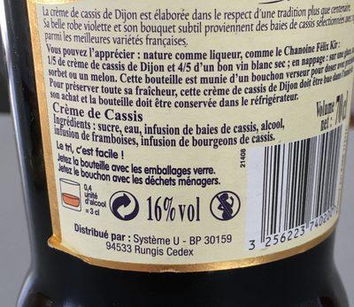 Crème de cassis de Dijon 16° - Ingredients - fr