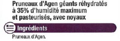 Pruneau d'Agen, calibre 33/44 - Ingrediënten - fr