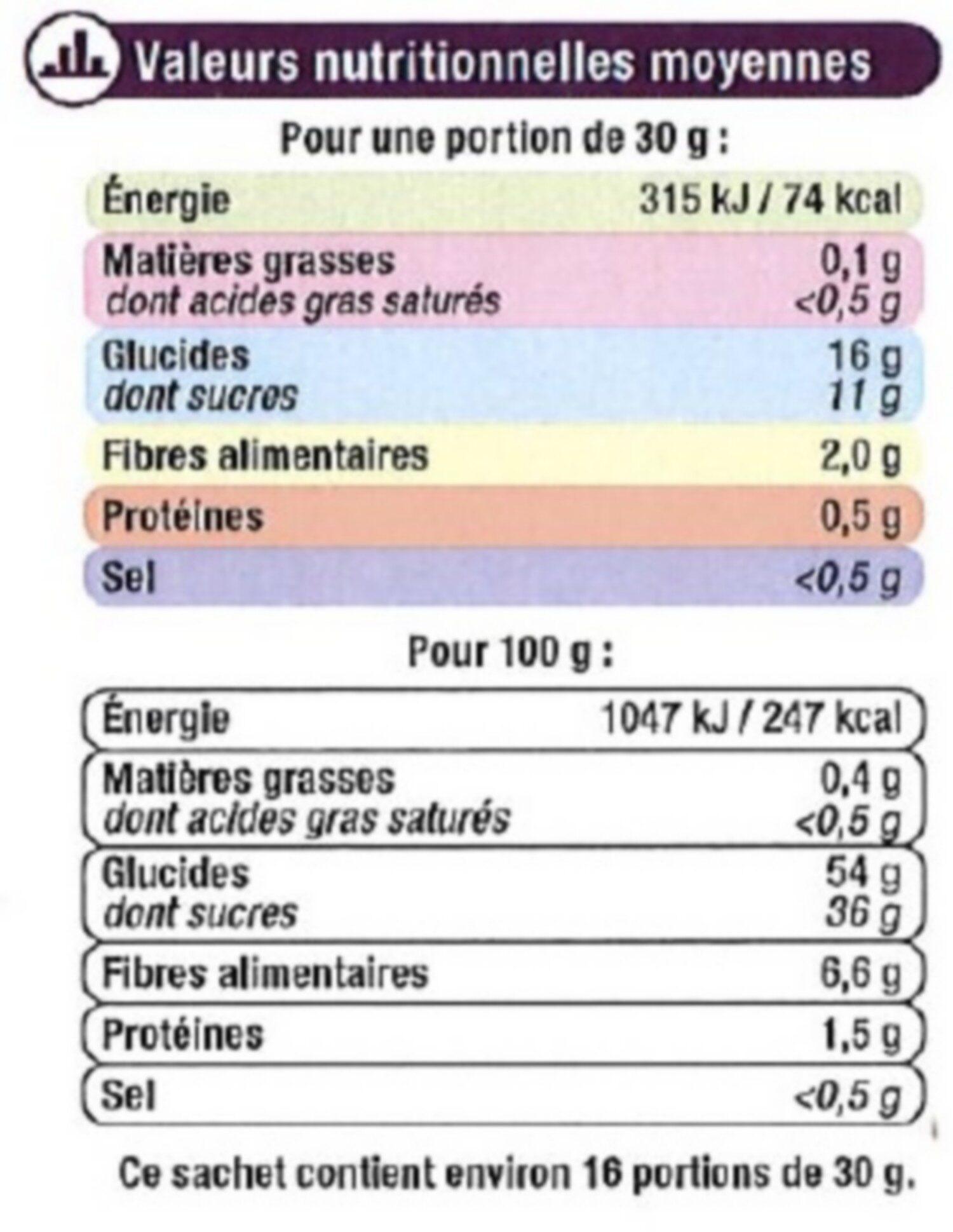 Pruneau d'Agen, calibre 33/44 - Voedingswaarden - fr