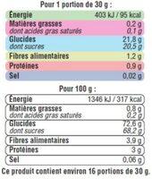 Raisins Sultanine, calibre 235/265 - Informations nutritionnelles