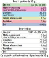 Raisins Sultanine, calibre 235/265 - Voedingswaarden - fr