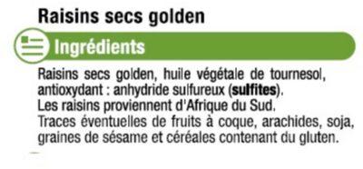 Raisin Golden, calibre 200/225 - Ingrédients - fr