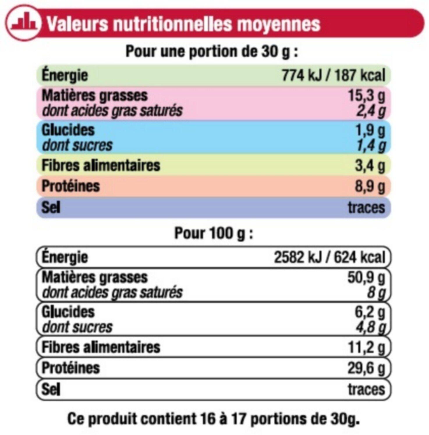 Cacahuètes en coques - Voedingswaarden - fr