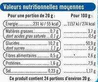 Pain de mie moule ouvert - Informations nutritionnelles - fr