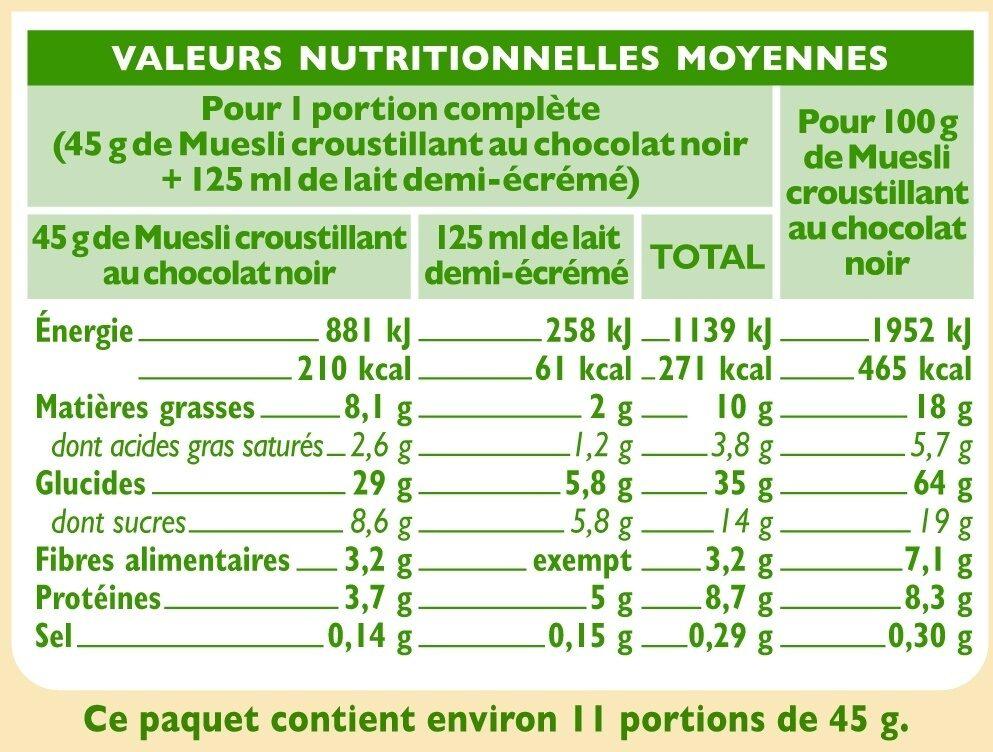 Muesli croustillant au chocolat - Informations nutritionnelles - fr