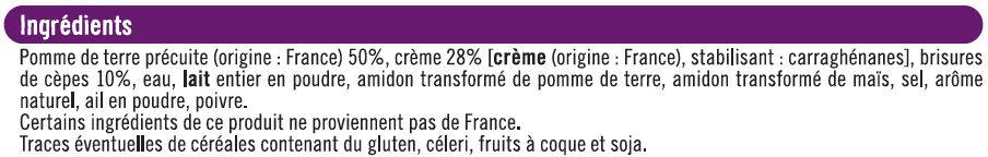 Mini Gratin de Pommes de Terre aux Cèpes - Ingrédients