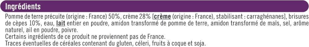 Mini Gratin de Pommes de Terre aux Cèpes - Ingrediënten