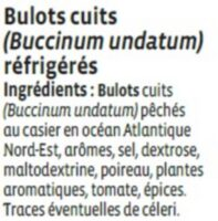 Bulots cuits, Buccinum undatum, - Ingredients
