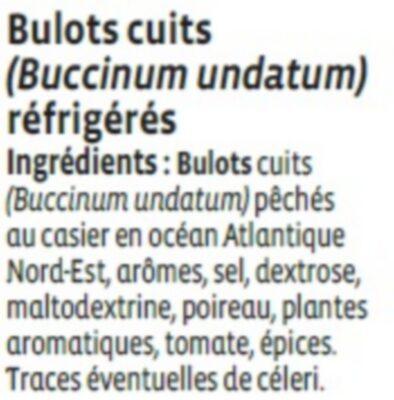 Bulots cuits, Buccinum undatum - Ingredients - fr
