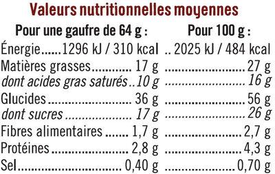 Gaufres Liégeoises Nappage Goût Chocolat - Voedingswaarden - fr