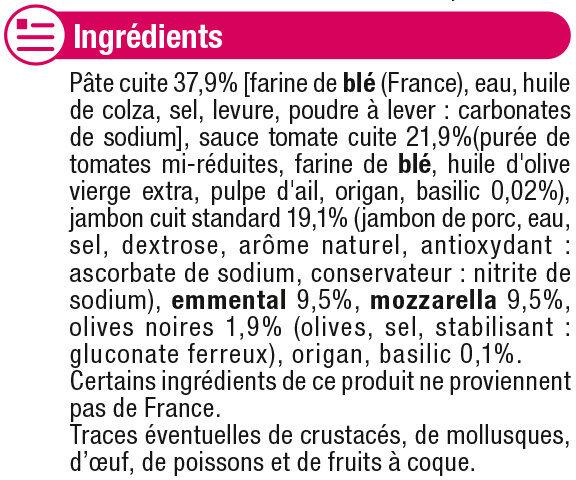 Pizza au jambon, emmental et mozzarella - Ingrédients - fr