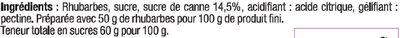 Confiture extra de rhubarbe - Ingrédients - fr