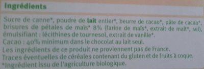 Chocolat Lait Maïs Bio - Ingredients