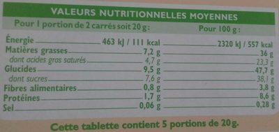 Chocolat Lait Maïs Bio - Nutrition facts