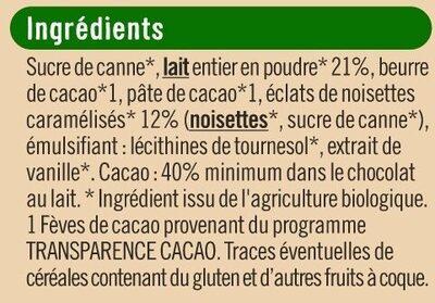Tablette de chocolat au lait et noisettes caramélisées - Ingrediënten