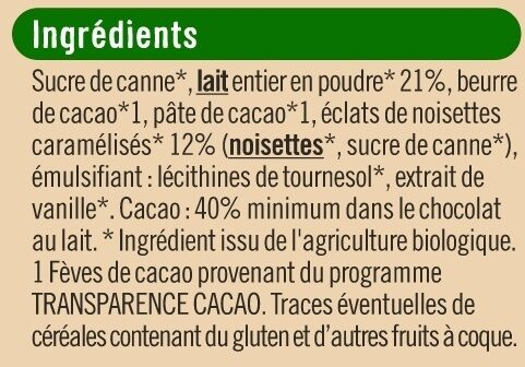 Tablette de chocolat au lait et noisettes caramélisées - Ingrédients