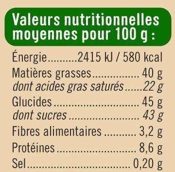 Tablette de chocolat au lait et noisettes caramélisées - Informations nutritionnelles