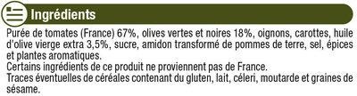 Sauce Tomates Olives - Ingrédients